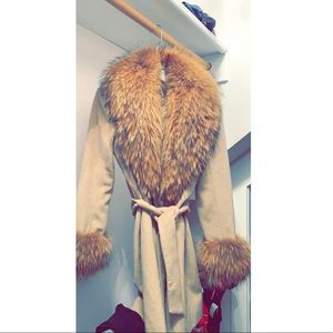 Jackets & Blazers - Real fox fur cashmere coat